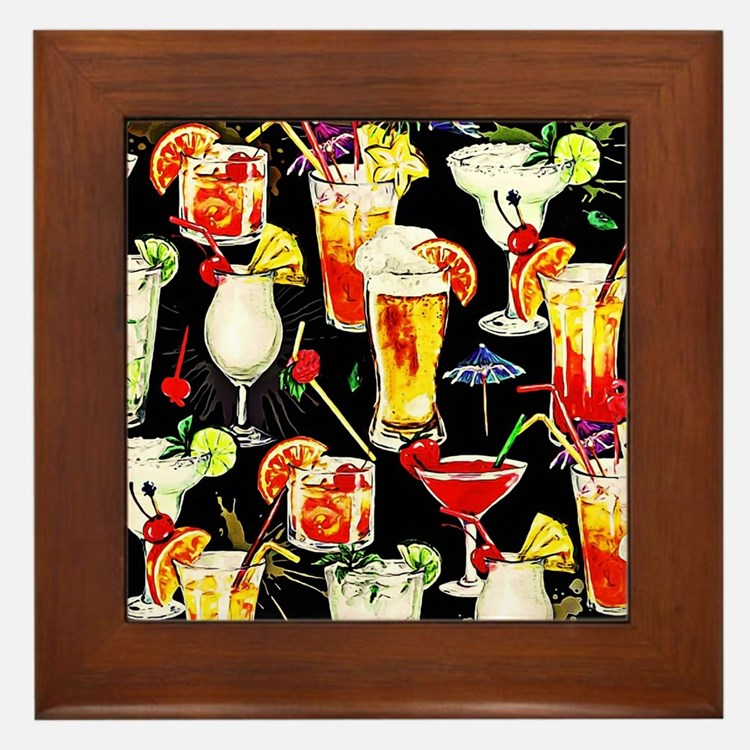 Cocktail Hour in the Tropics Framed Tile