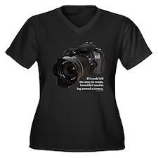 Photo Story Women's Plus Size V-Neck Dark T-Shirt