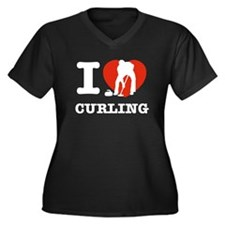I love Curling Women's Plus Size V-Neck Dark T-Shi