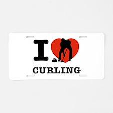 I love Curling Aluminum License Plate