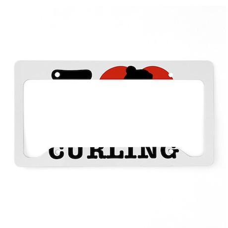 I love Curling License Plate Holder