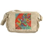 Multicolor Oak Leaf Art Messenger Bag