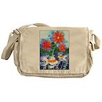 Fish and Flowers Art Messenger Bag