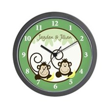 Silly Monkeys Wall Clock - Jayden and Jillian