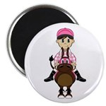 "Cute Jockey and Horse 2.25"" Magnet (10 Pk)"