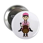 "Cute Jockey and Horse 2.25"" Button"