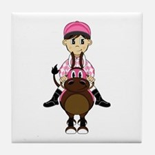 Cute Jockey and Horse Tile Coaster