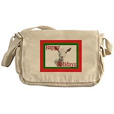 Saanen Goat Happy Holidays Messenger Bag