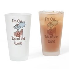 Goat Top of World Drinking Glass