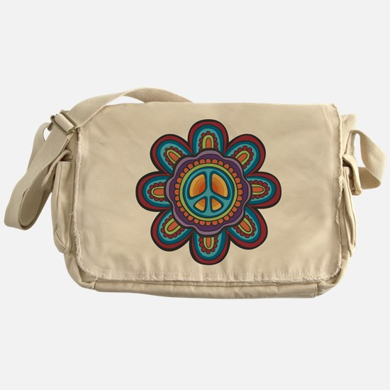 Hippie Peace Flower Messenger Bag