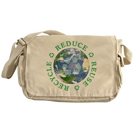 Reduce Reuse Recycle [globe] Messenger Bag