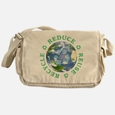 Reduce Reuse Recycle [globe] Messenger Bag