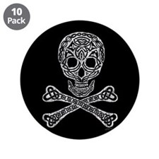 "Celtic Skull and Crossbones 3.5"" Button (10 pack)"