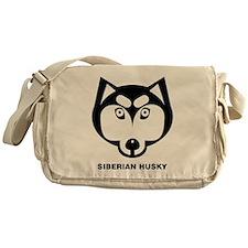 Siberian Husky Icon [b/w] Messenger Bag