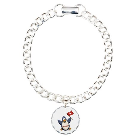 Switzerland Penguin Charm Bracelet, One Charm
