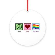 Peace Love Gay Pride Ornament (Round)
