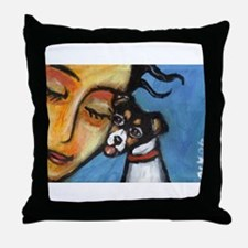 Rattie kisses lady Throw Pillow