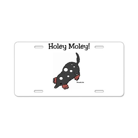 Holey Moley Aluminum License Plate
