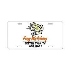 Frog Watching Aluminum License Plate