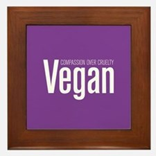 Vegan Compassion Over Cruelty Framed Tile
