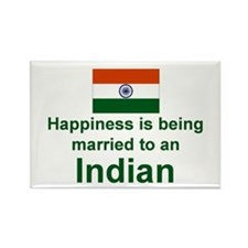 "Happily Married To An Indian Magnet (3""x2"")"