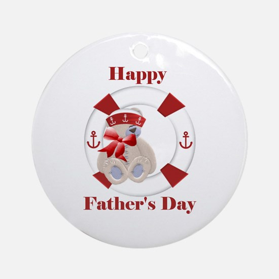 Happy Father's Day (bear) Ornament (Round)
