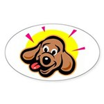 Happy Dachshund Cartoon Oval Sticker