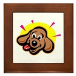 Happy Dachshund Cartoon Framed Tile