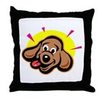 Happy Dachshund Cartoon Throw Pillow