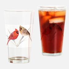 Northern Cardinal male & fema Drinking Glass