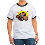 Happy Dachshund Cartoon Ringer T