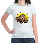 Happy Dachshund Cartoon Jr. Ringer T-Shirt