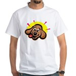 Happy Dachshund Cartoon White T-Shirt