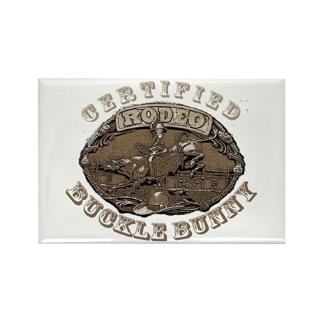 Certified Rodeo Buckle Bunny Rectangle Magnet (100