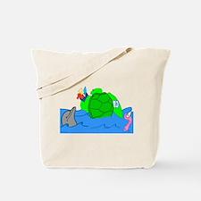 Cartoon Illustrated Turtle Tote Bag