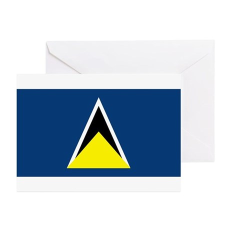 St Lucia Flag Greeting Cards (Pk of 10)