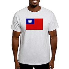 Taiwanese Flag Ash Grey T-Shirt