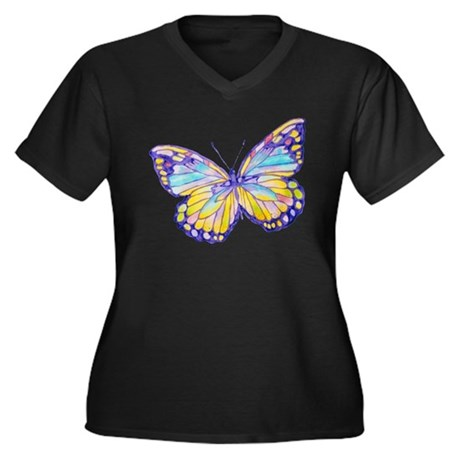 Purple Painted Butterfly Women's Plus Size V-Neck
