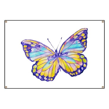 Purple Painted Butterfly Banner