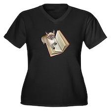 Kitten Book Women's Plus Size V-Neck Dark T-Shirt