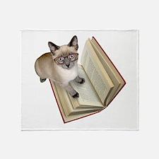 Kitten Book Throw Blanket