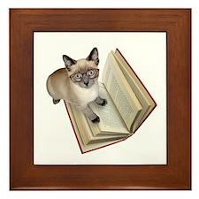 Kitten Book Framed Tile