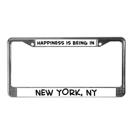 Happiness is New York License Plate Frame
