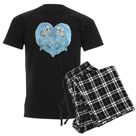 sea otters holding hands Men's Dark Pajamas