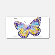 Purple Painted Butterfly Aluminum License Plate