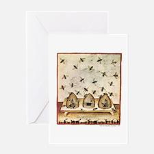 Medieval Bees in Skeps Greeting Cards