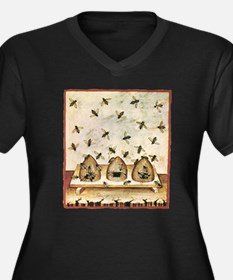 Cool Bees Women's Plus Size V-Neck Dark T-Shirt