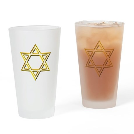 Gold Star of David Drinking Glass