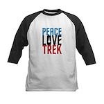 Peace Love Trek Kids Baseball Jersey