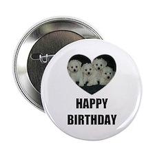 HAPPY BIRTHDAY BICHON PUPPIES Button